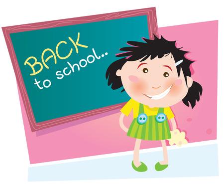 行き: 戻って学校へ。学校で小さな女の子。ベクトル イラスト。  イラスト・ベクター素材