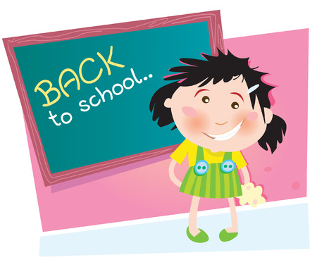 go back: Back to school. Small girl in the school. Vector Illustration.