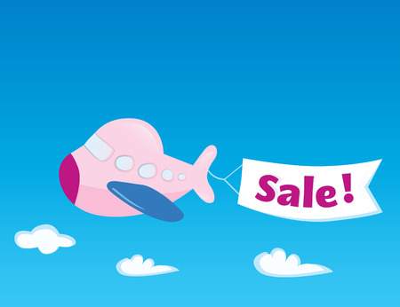 Flight sale! Flying Airplane with promotional banner. Vector Illustration.
