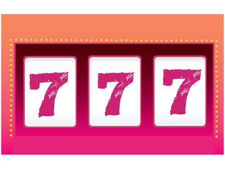 Slot Machine – Luck. Triple seven. Symbol of Luck. Vector Illustration. Illustration
