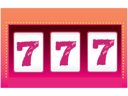 lasvegas: Slot Machine � Luck. Triple seven. Symbol of Luck. Vector Illustration. Illustration