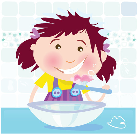 yellow teeth: Girl is brushing teeth. Small girl in bathroom. Vector Illustration. Illustration