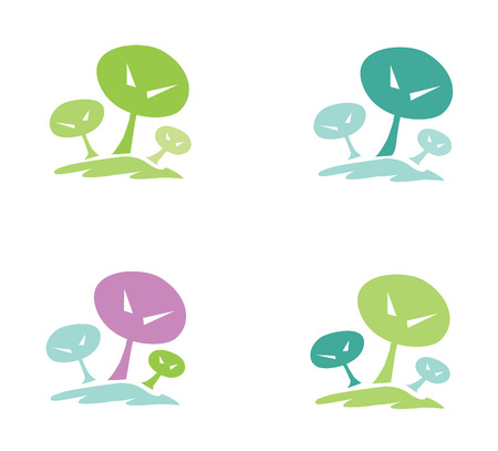 Trees pictogram. In 4 color variants. Vector illustration. Vector