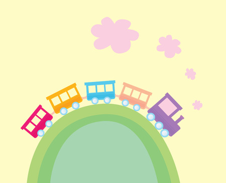 Cartoon train. Wonderful train is going through pastel country. Vector Illustration. Vector