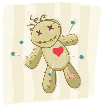 poup�e: Voodoo Doll. Ancien symbole africaine de la mort. Vector illustration. Illustration