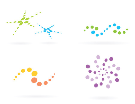 Design elements II. 4 different dotted icons. Vector Illustration. Vector