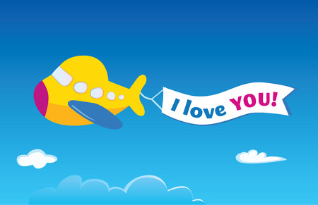 into: Yellow airplane. Vector airplane. Write your own text into banner! Illustration