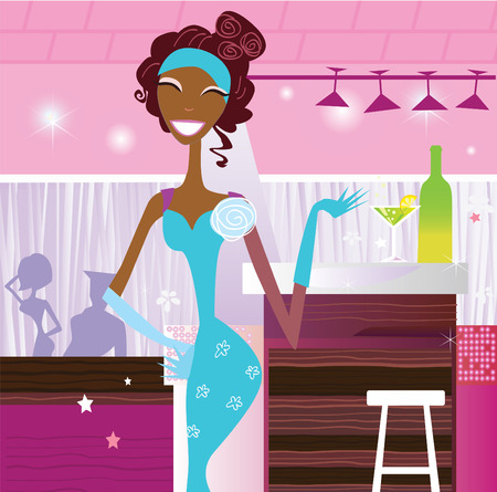 Girl in bar. Lifestyle fashion illustration � in the disco club. VECTOR. Stock Vector - 5581927