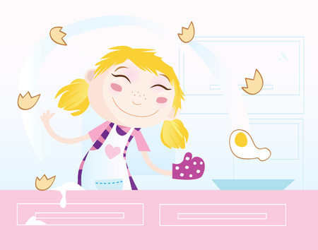 baking dish: Girl is cooking. Food preparation. Woman in the kitchen. Vector Illustration.
