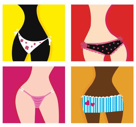 Femme en culotte. Vecteur série artistique des filles dans les sous-vêtements. En 4 variantes différentes.