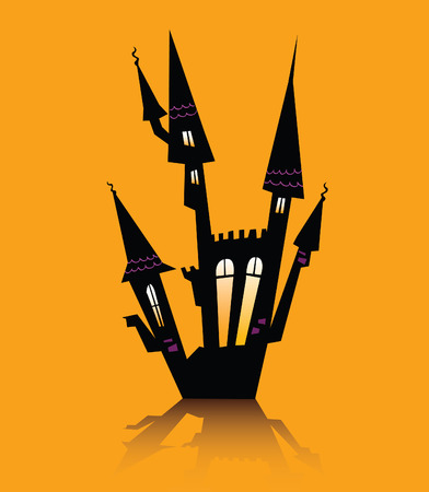 Halloween haunted house. Haunted house silhouette. Vector icon. Vector