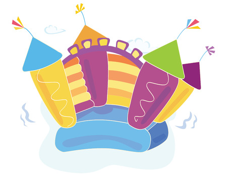 Vector bouncy castle. Vector Illustration of a bouncy castle with girl jumping on it. Easy to resize and change colors! Vector