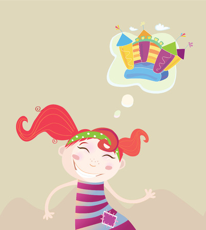 Childrens dream. New toy or something else? Vector Illustration of dreaming girl. Vector