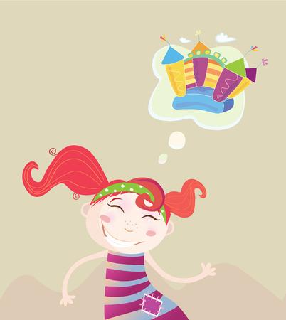 Childrens dream. New toy or something else? Vector Illustration of dreaming girl. Vector
