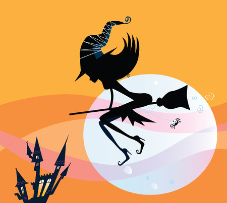 Halloween witch silhouette. Flying halloween witch silhouette by midnight moon. Vector Illustration.