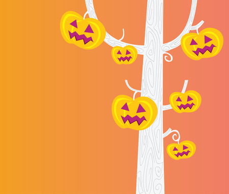 Halloween tree. Pumpkin � head tree. Halloween party now begin!  Vector Illustration. Vector