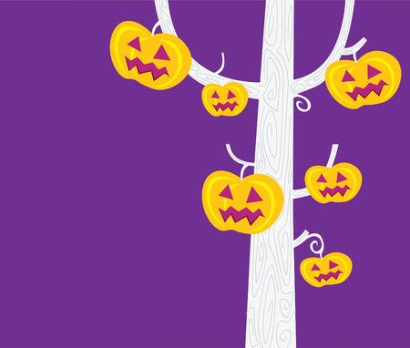 Halloween tree. Pumpkin � head tree. Halloween party now begin!  Vector Illustration. Stock Vector - 5596766