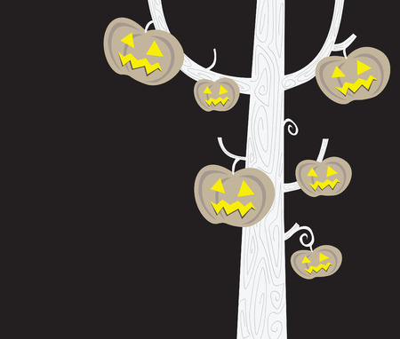 Halloween tree silhouette. Black-white silhouette of pumpkin – head tree. Vector Illustration. Vector