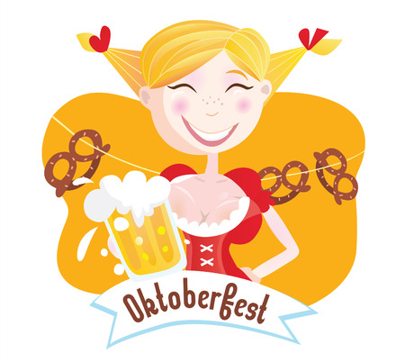 bavarian girl: Octoberfest (Bavarian woman). Oktoberfest girl in traditional bavarian clothing with beer. Vector Illustration.