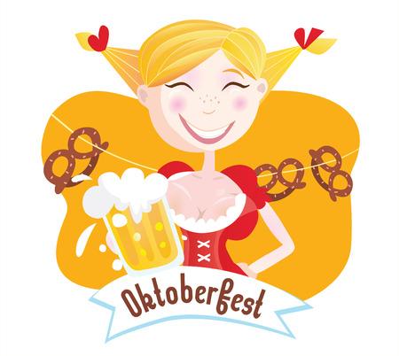 bavarian: Octoberfest (Bavarian woman). Oktoberfest girl in traditional bavarian clothing with beer. Vector Illustration.