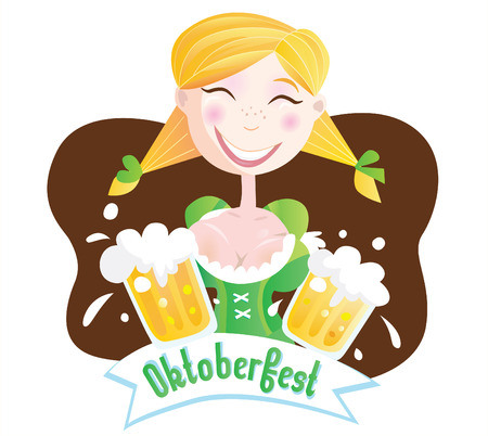 Octoberfest (Bavarian girl). Oktoberfest girl in traditional bavarian clothing with beer. Vector Illustration. Vector