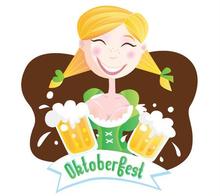 bavarian: Octoberfest (Bavarian girl). Oktoberfest girl in traditional bavarian clothing with beer. Vector Illustration.