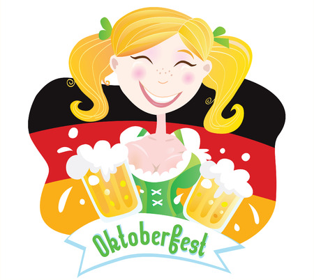 bavarian girl: Oktoberfest (Bavarian female). Oktoberfest girl in traditional bavarian clothing on german flag with beer. Vector Illustration.