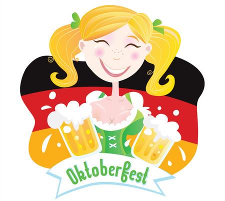 german: Oktoberfest (Bavarian female). Oktoberfest girl in traditional bavarian clothing on german flag with beer. Vector Illustration.