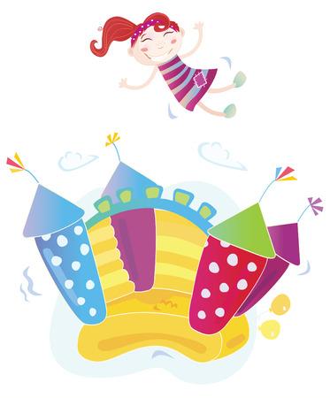 castillos de princesas: Castillo inflable Vector. Ilustraciones Vectoriales de un castillo hinchable con la ni�a saltando sobre ella. F�cil de cambiar el tama�o y cambiar los colores!
