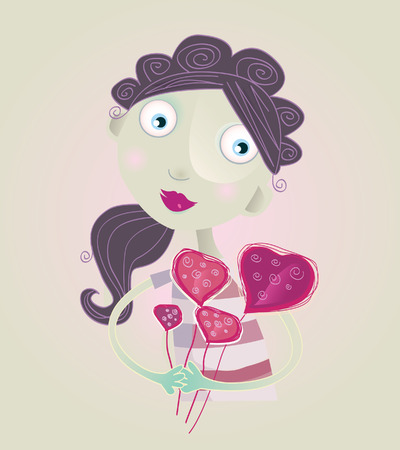 Flowers to mommy. Artistic vector Illustration of woman with heart flowers. Vector