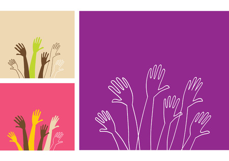 volunteering: Party hands. Vector Illustration of stylized various hands. Easy to change size and colors. See similar pictures in my portfolio!