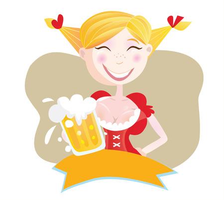 bavarian: Bavarian woman with beer. Oktoberfest bavarian woman in traditional clothes with beer. Vector Illustration.