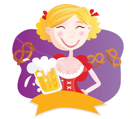 Bavarian woman with beer. Oktoberfest bavarian woman in traditional clothes with beer. Vector Illustration. Vector
