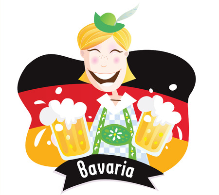Oktoberfest (Bavarian male with beer). Bavarian man in traditional clothes. Vector llustration. Vector