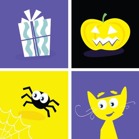 Halloween retro icons. Halloween vector Iconset. Series included symbols of halloween present, cat, pumpkin head and spider. Vector