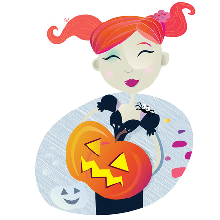 Halloween girl. Halloween witch girl with pumpkin head. Vector Illustration. Vector