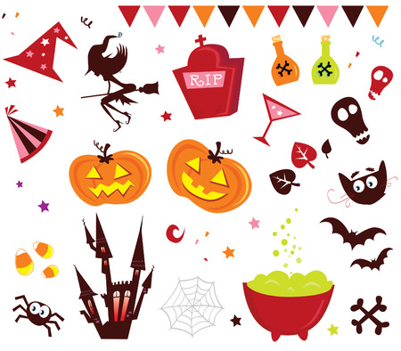 Halloween vector Icons set III. Halloween vector icons in red color. Stock Vector - 5633028