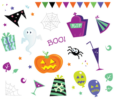 Halloween design elements and icons I. Retro halloween design elements. Vector Illustration. Vector