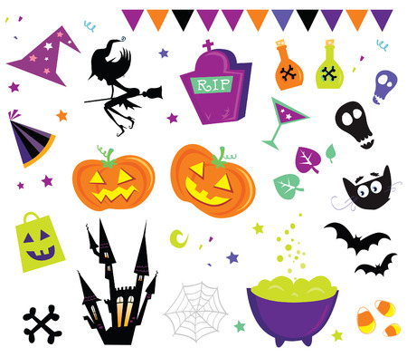 Halloween vector Icons set III. Halloween vector icons in red color. Vector