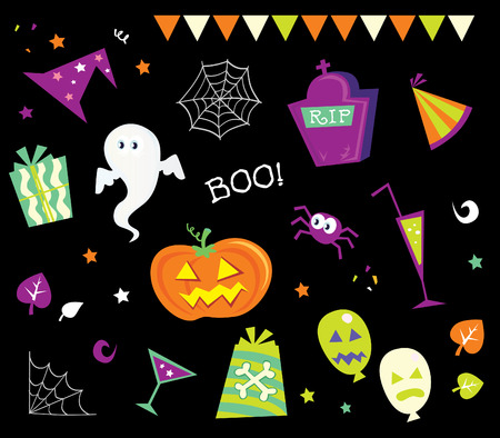 Halloween design elements and icons I. Retro halloween design elements isolated on black background. Vector Illustration. Vector