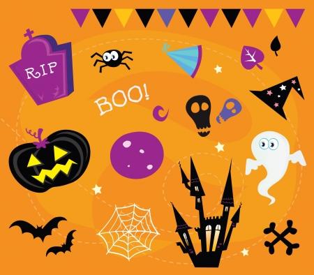 jack pot: Iconos de Halloween y elementos de dise�o. Retro Halloween iconos y elementos gr�ficos aislados en naranja background.Vector Ilustraci�n.