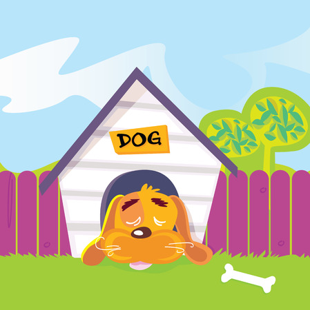 Dog sleeping in dog house. Cute dog sleep in dog house. Vector Illustration. Vektoros illusztráció