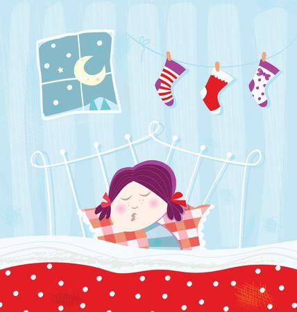 Sleeping child during christmas night photo