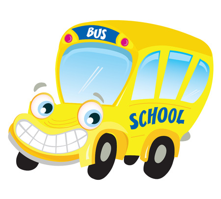 Isolated yellow school bus. Funny yellow school bus isolated on white background. Vector Illustration.