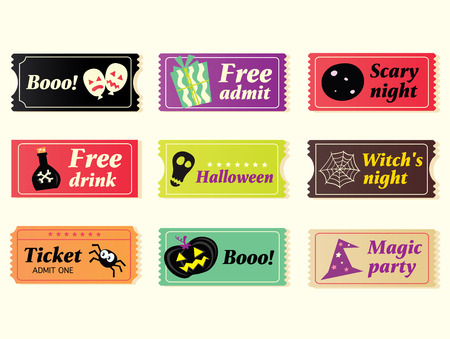 holiday movies: Retro halloween vector tickets. Going to Halloween party? Booo! Use my tickets! In 9 different variants. Vector Illustration.