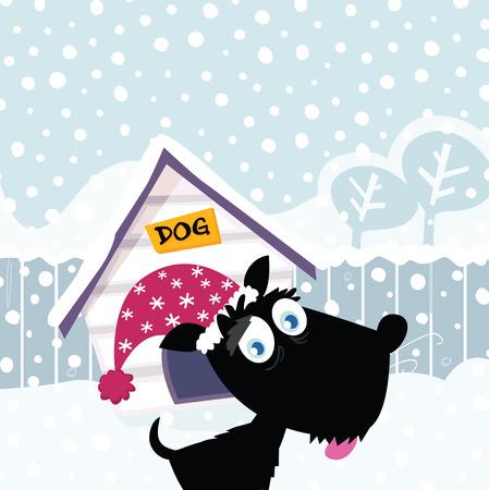 Funny christmas dog. Adorable christmas doggie in christmas hat. Vector Illustration.
