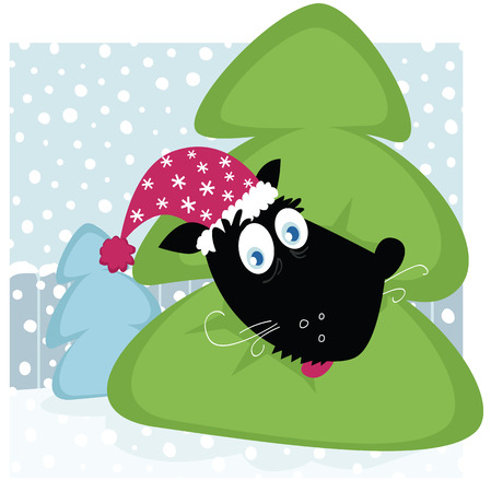 Funny dog inside christmas tree. Funny vector dog with christmas tree. Vector Illustration. Vector