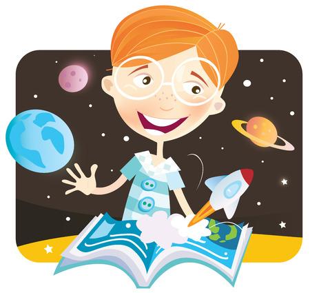 empezar: Ni�o con el libro de historia. Peque�a historia de espacio astronauta comenzar! Ilustraciones Vectoriales.