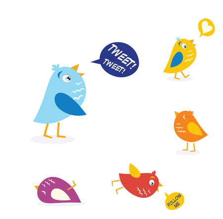 Colored twitter birds set. Twitter birds set in different colors. Vector Illustration. Vector