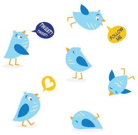 Twitter message birds set. Collection of Twitter bird icons. Vector Illustration. Stock Vector - 5689871